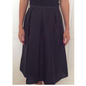 Talbots Black Silk Box Pleated Skirt